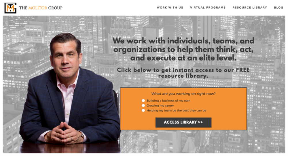 New website design for The Molitor Group, built on Squarespace