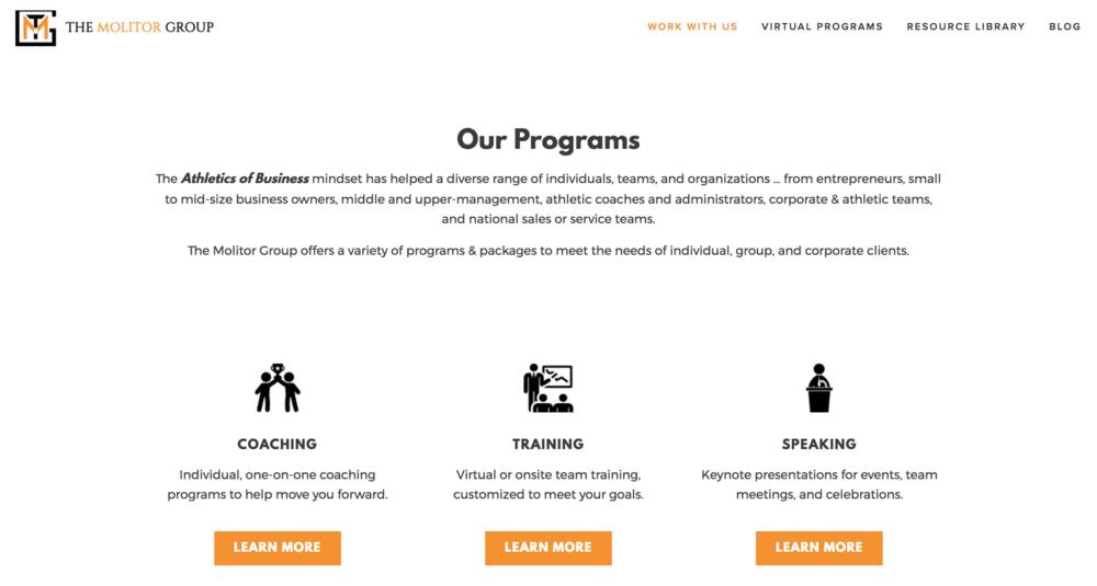 New website for The Molitor Group, built on Squarespace's website development platform