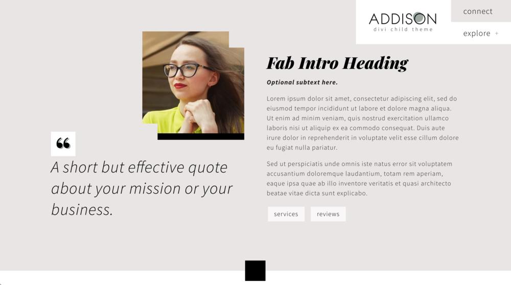 Addison child theme for Divi WordPress