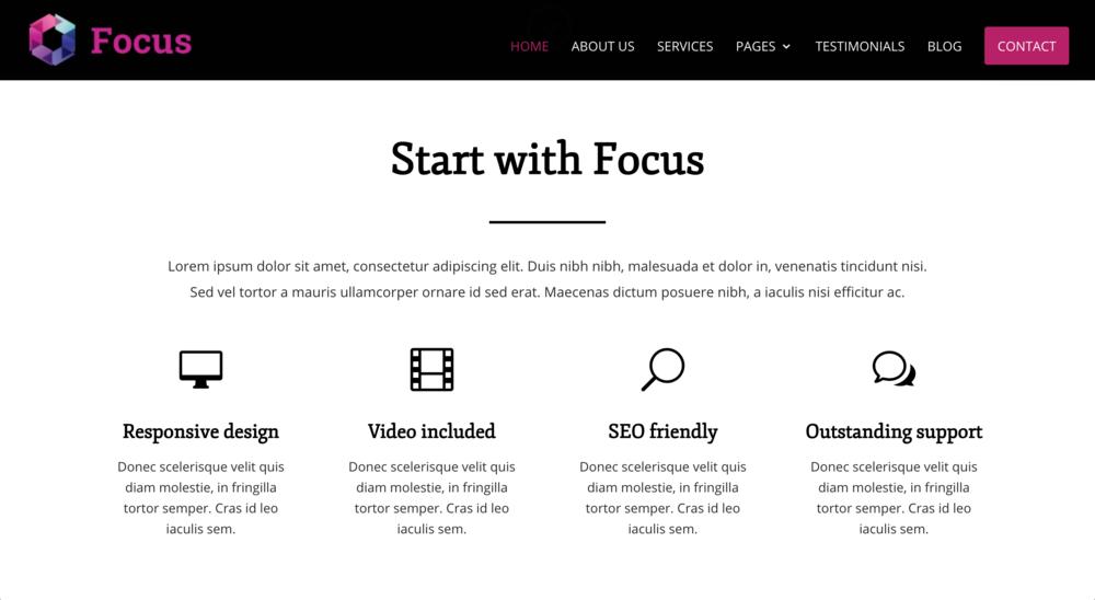 Focus child theme for Divi WordPress