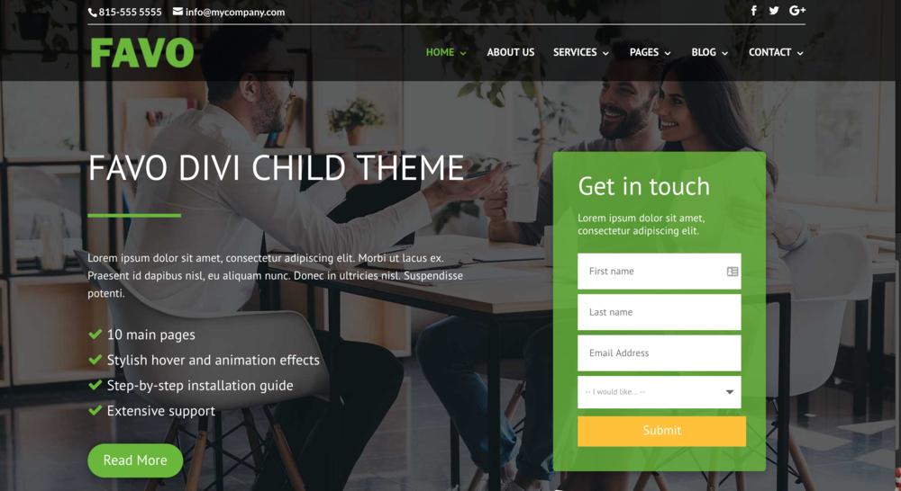 Favo child theme for Divi WordPress