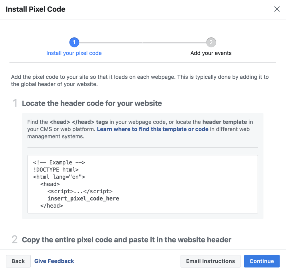 Install the Facebook Pixel on your website BEFORE you run Facebook Ads!