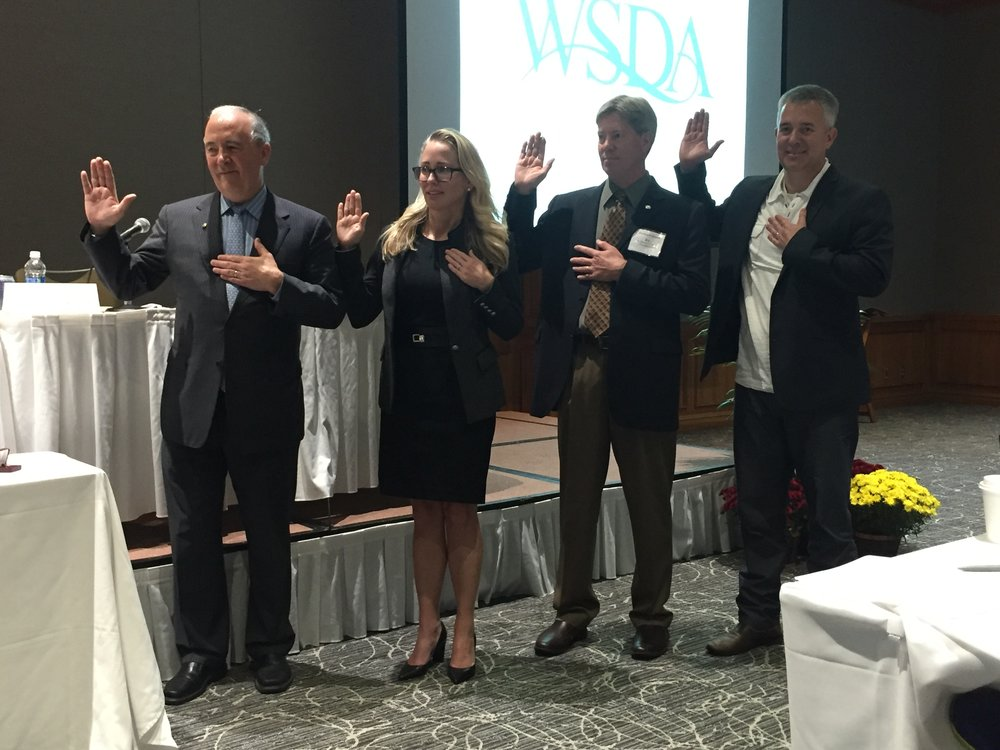 New WSDA Officers (L to R): Immediate Past President Dr. Bryan Edgar, President-elect Dr. Cynthia Pauley, President Dr. BJ Larson, and Secretary-Treasurer Dr. Nathan Russell. HOD 16 Officers