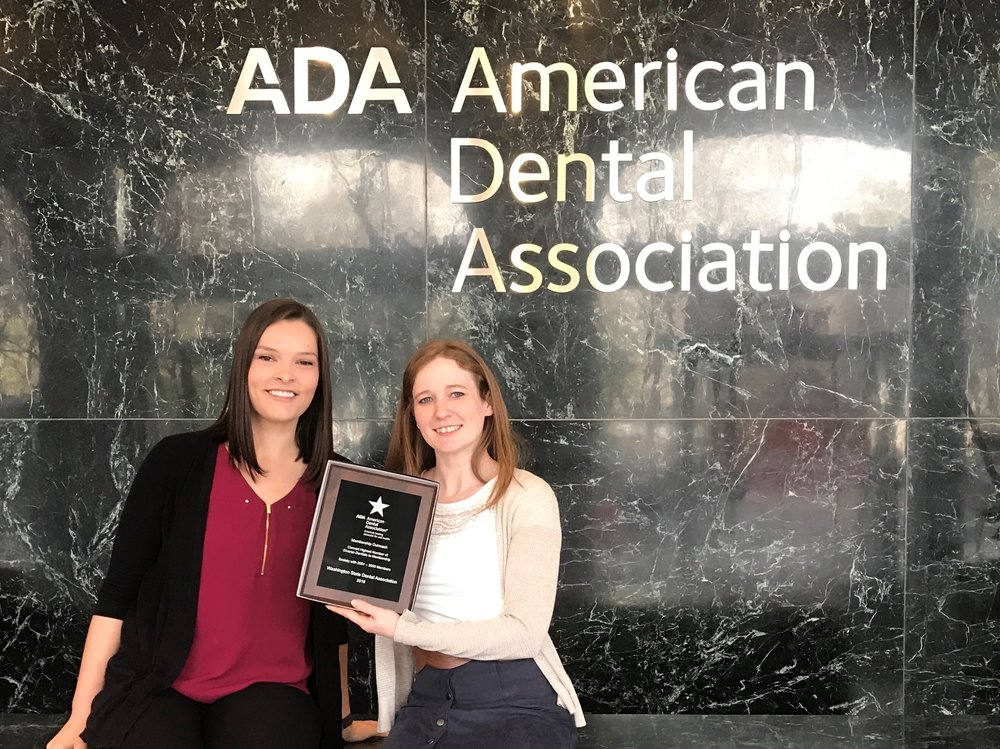 Membership staff Emma Brown (left) and Rachal Gunderson (right) at the American Dental Association building in Chicago.