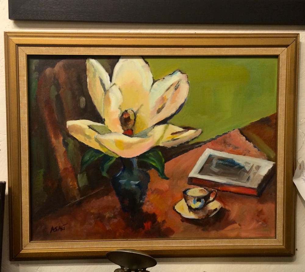 Something about the distorted perspective in this piece reminds me of Matisse, and just so happens  Mr. Matisse  also did a still life with a magnolia as its focal point.