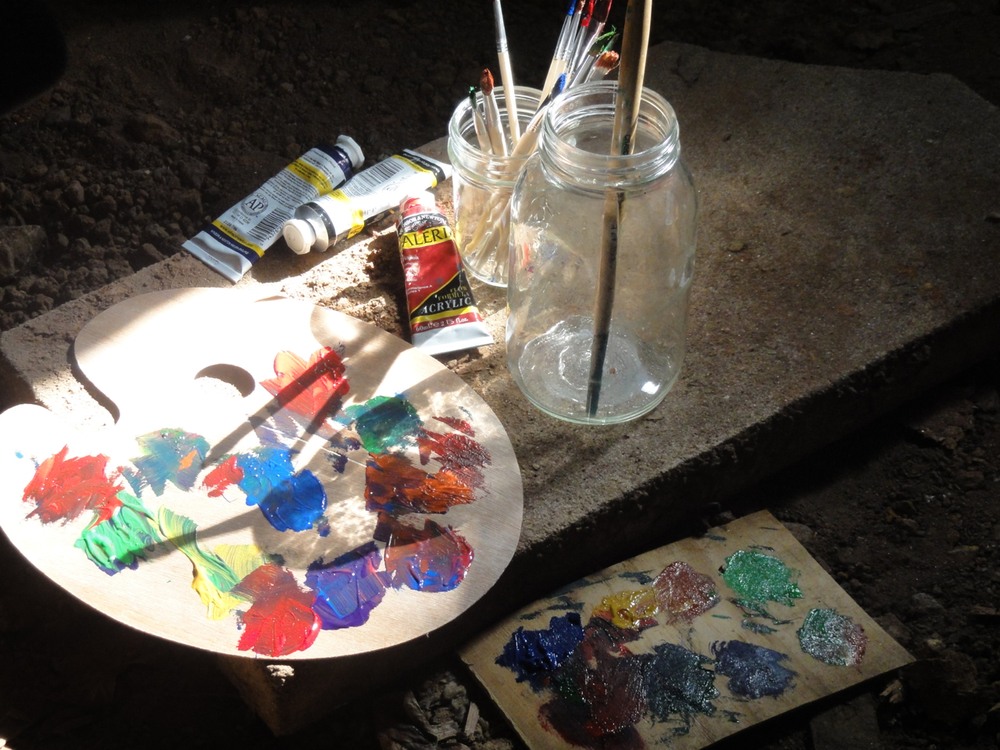 There's just something so inspiring about a palette dappled with paint.