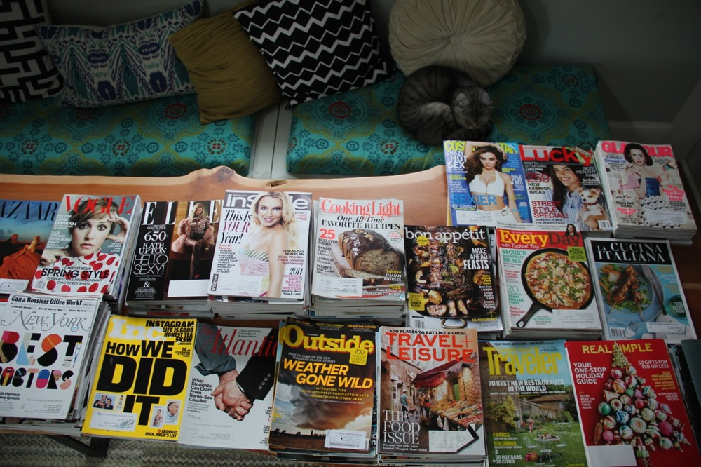 This is what happens when you get hundreds of free magazines!  Jake decided he'd supervise my work.