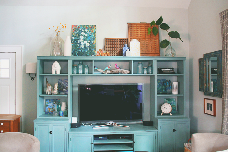 Dark blue and brown bedroom - Entertainment Center Part Two The Big Picture A Simpler Design A