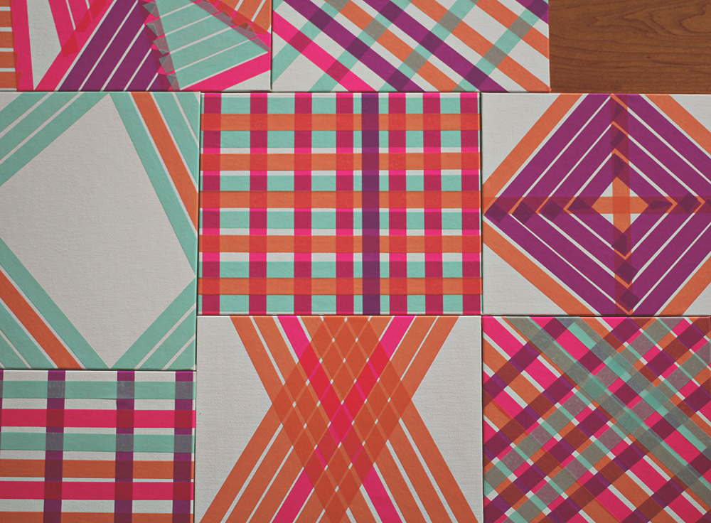 Diy washi tape art a study on patterns and color a for Washi tape wall art