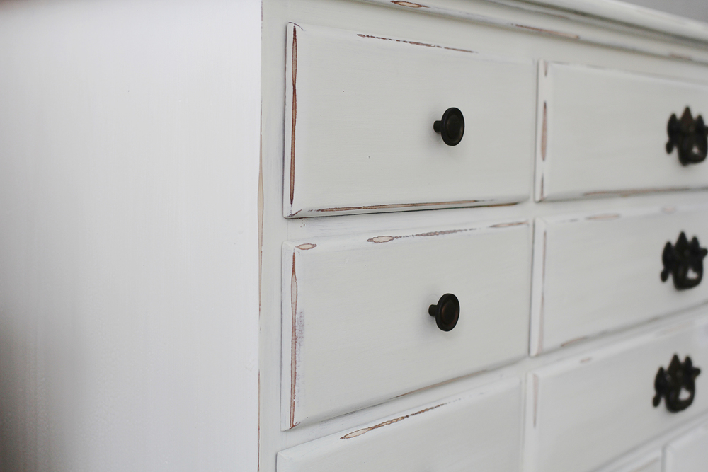 distressing techniques crackle finish on a white dresser a