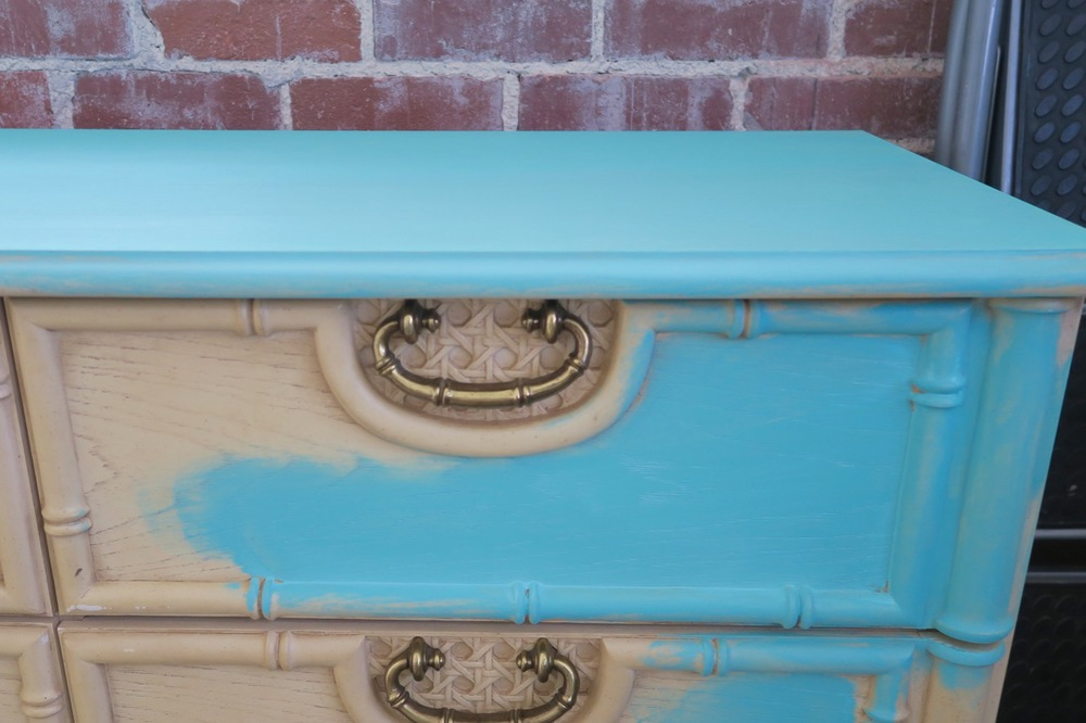 Before and After Bamboo Dresser goes Tiffany Blue aka Turquoise