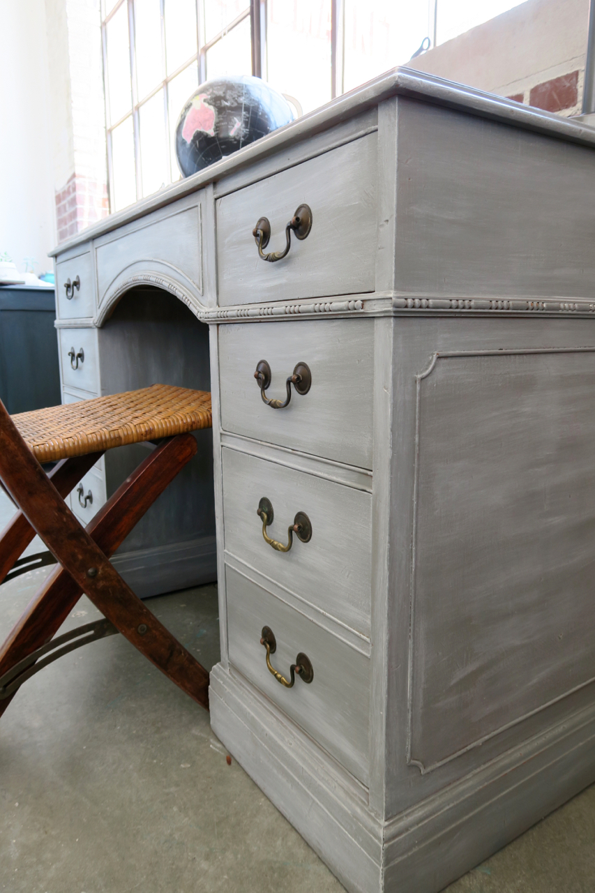 Georgeous Gray Desk Using White Wax On Furniture A