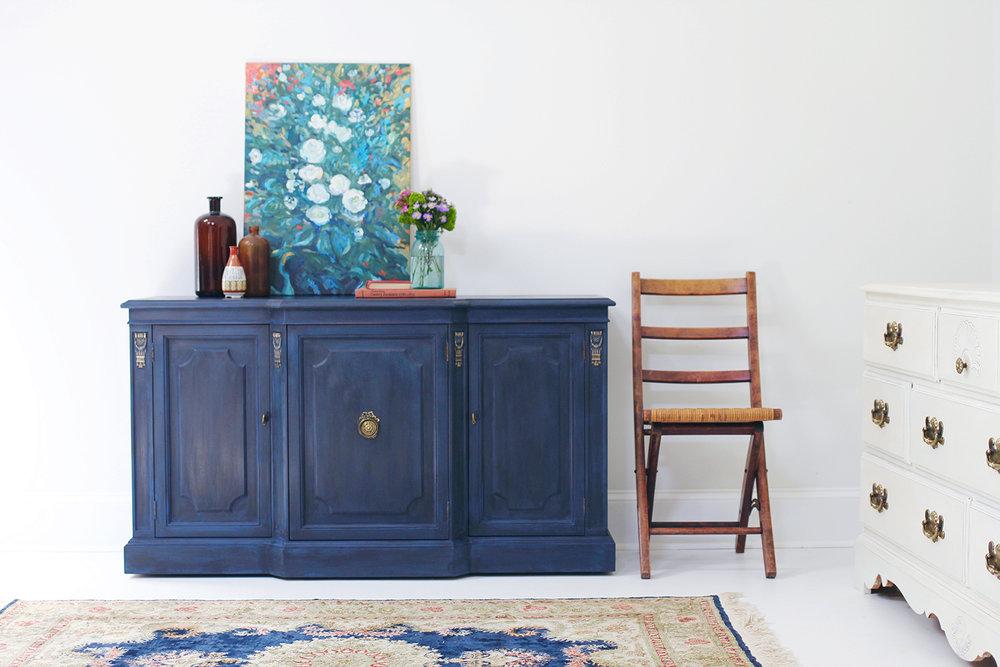 Annie Sloan Napoleonic Blue Black Wax Painted Buffet