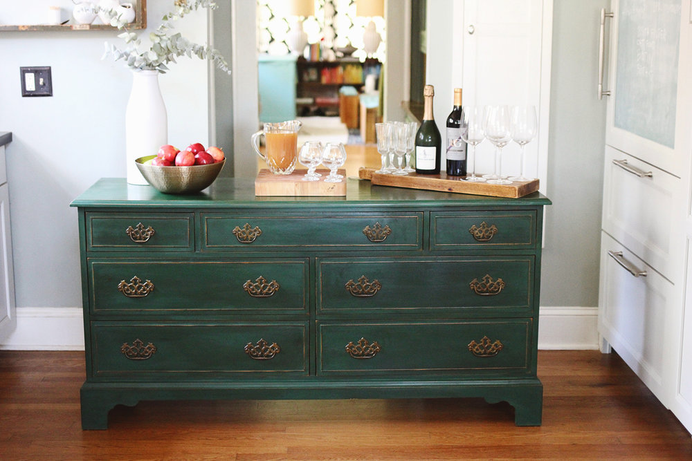 Testing New Colors Annie Sloan Amsterdam Green Dresser
