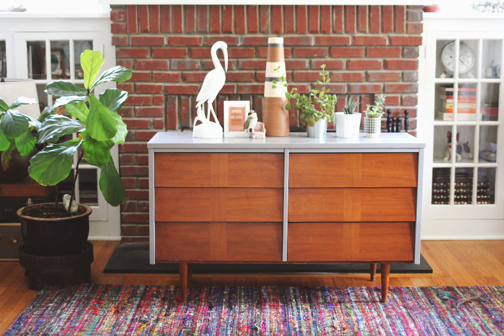 Clean Modern Lines Mid Century Dresser Painted In Gray With