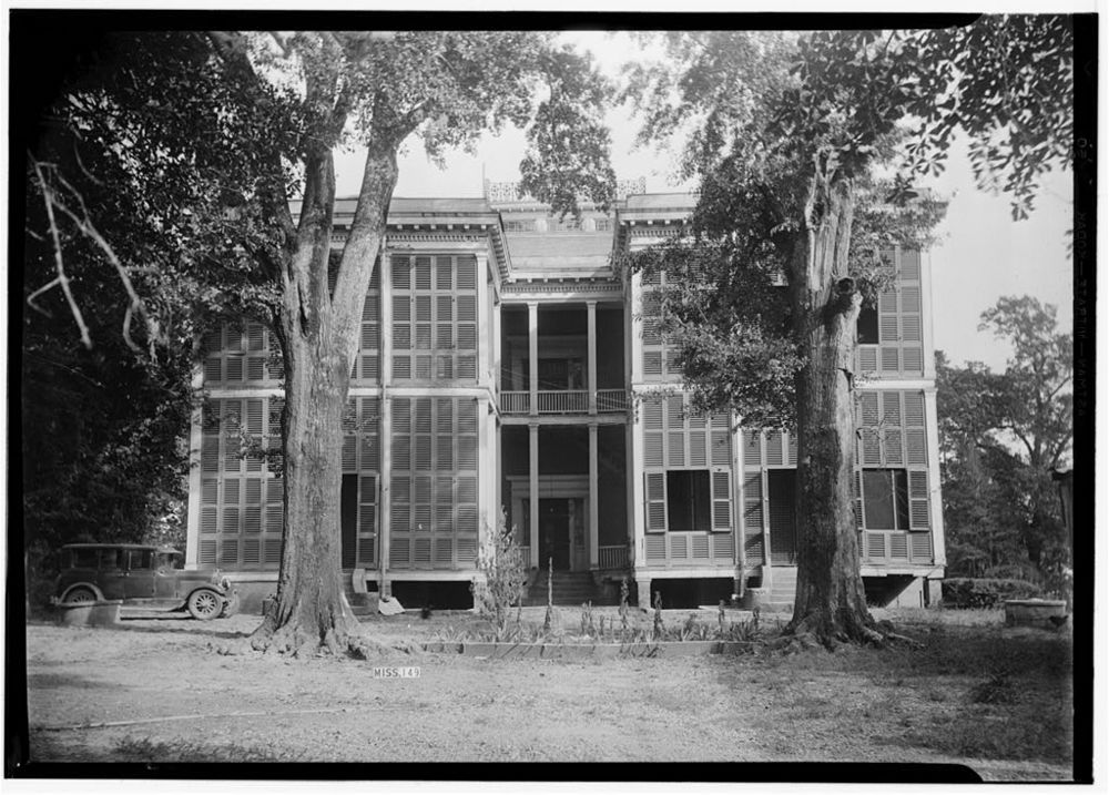 Homewood, Natchez, Mississippi, from the Historic American Building Survey archives.  So many shutters to allow fresh air and block out light (and heat).  The shutters provide interesting filigree texture in the hierarchy of the structure.