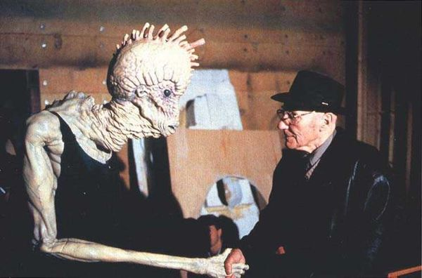 "William S. Burroughs meeting a Mugwump on the set of ""Naked Lunch""    Ain't It Cool News: The best in movie, TV, DVD, and comic book news."