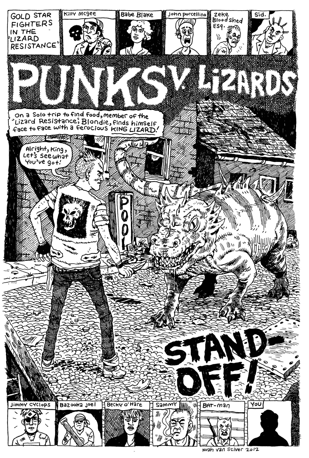 noahvansciver :     Punks v. Lizards from the upcoming Blammo #8.