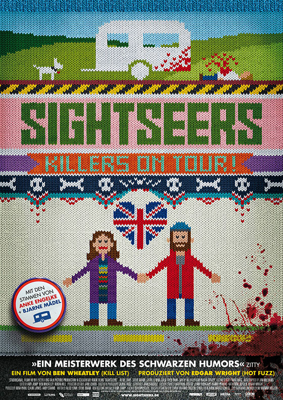 movieposteroftheday: German poster for SIGHTSEERS (Ben Wheatley, UK, 2012) Designer/knitter: unknown Poster source: IMPAwards For a more detailed look at this poster read Movie Poster of the Week at mubi.com