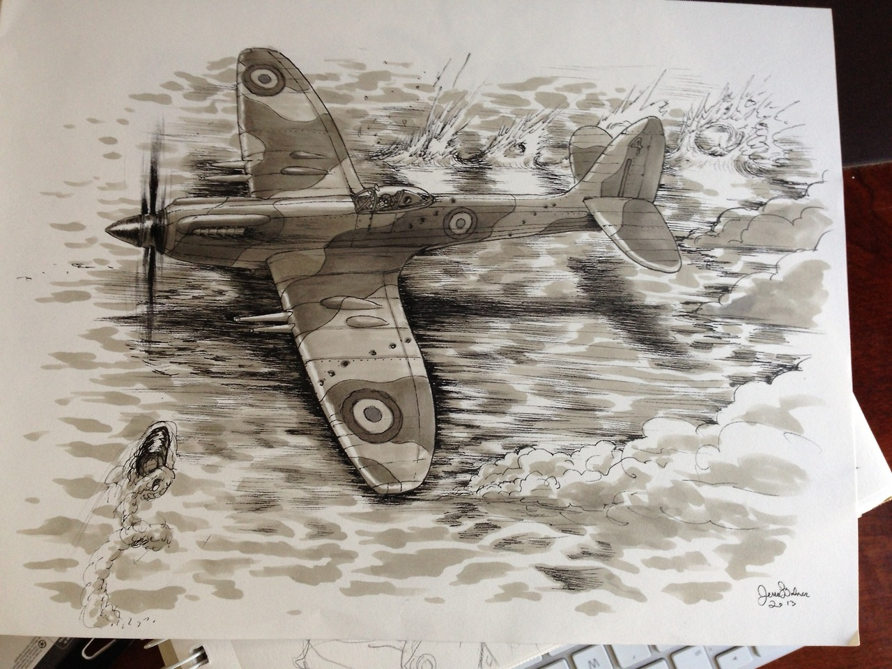 Well this is certainly good. By Jesse Balmer.    iwillmissthedinosaurs :     Copic + micron drawing of a Spitfire Mk XXIV gettin' dangerous for Alison's pop.