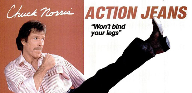 Action Jeans! (via Chuck Norris Action Jeans! Ads from the 1980s « The Wall Breakers The Wall Breakers)