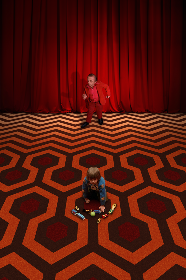 redrum    the-overlook-hotel :     The iconic carpeting of  The Shining  and  Twin Peaks  collide.   Artist:  Jared Lyon
