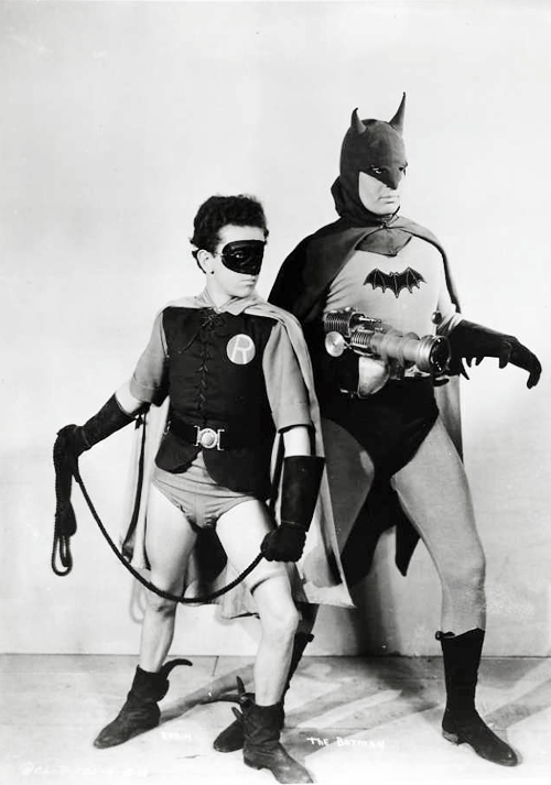 Perfect.    vintagegal :        Lewis Wilson   as Batman and   Douglas Croft   as Robin for the Batman 15-chapter serial, 1943
