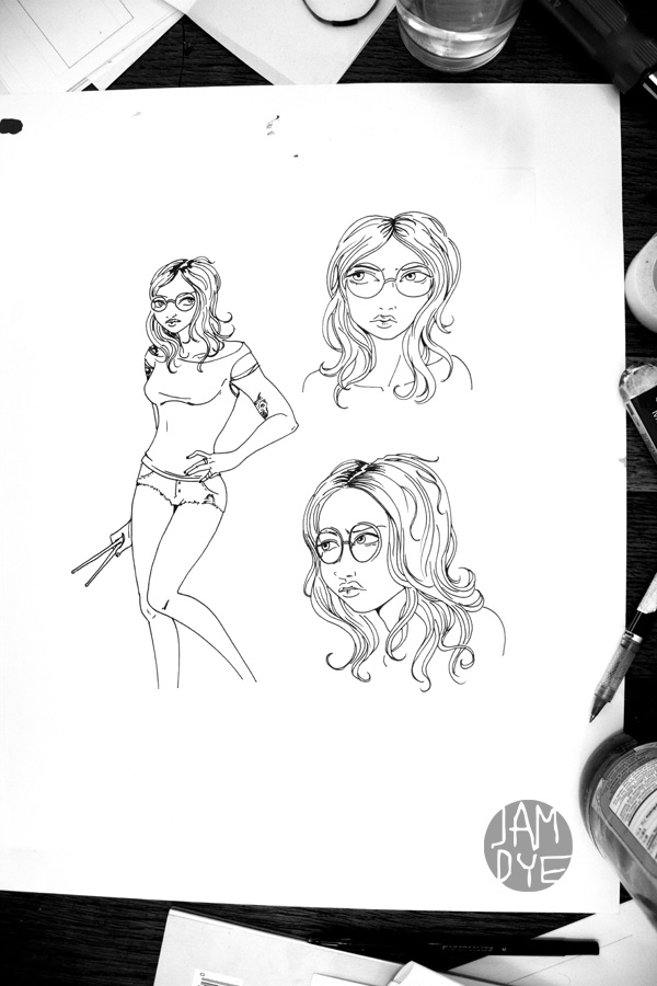 jamdye :     Working on character sketches for new project. Poppy is fun to draw! #comics #characters #ladies #jamdye