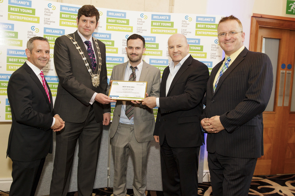 Paul Reid (Chief Executive, Fingal County Council), Ted Leddy (Deputy Major of Fingal), Mark Sheils (Founder of Picture Ireland) Sean Gallagher (Entrepreneur/ IBYE Fingal Awards Keynote Speaker) , Oisin Geoghegan (Head of Fingal Local Enterprise Office)