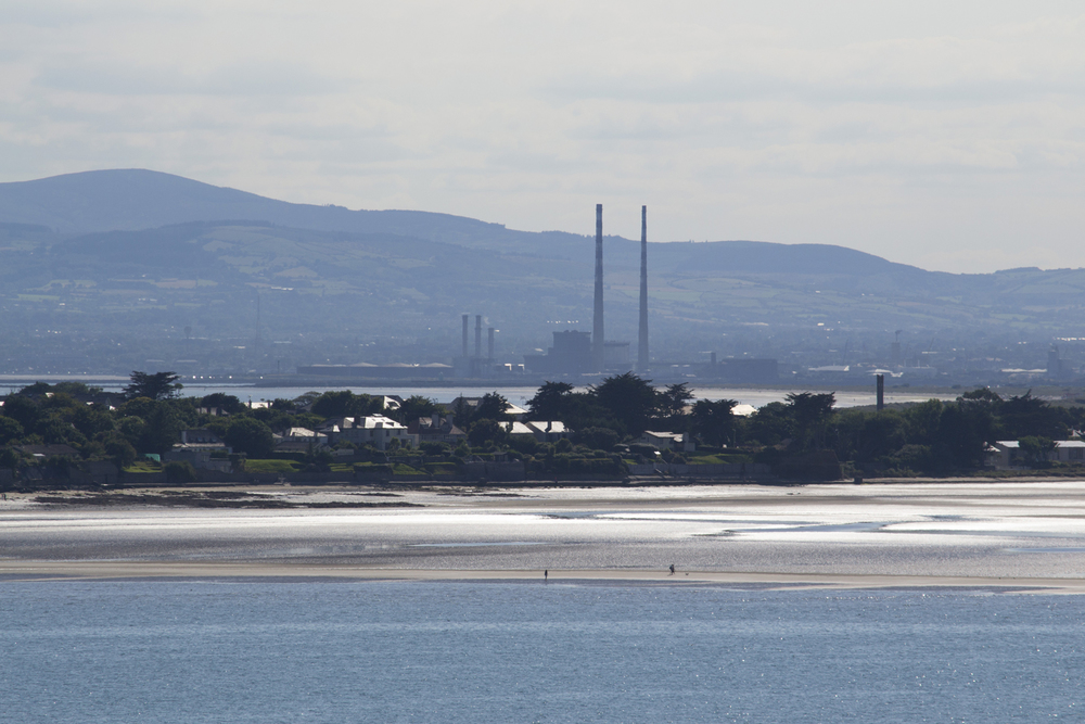 The iconic Poolbeg stacks photographed from Ireland'e Eye using a telephoto lens.