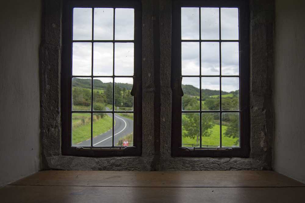A View from a window in the 3 storey manor house.