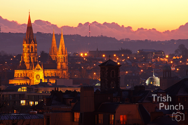 Sunset over Cork city in Ireland.