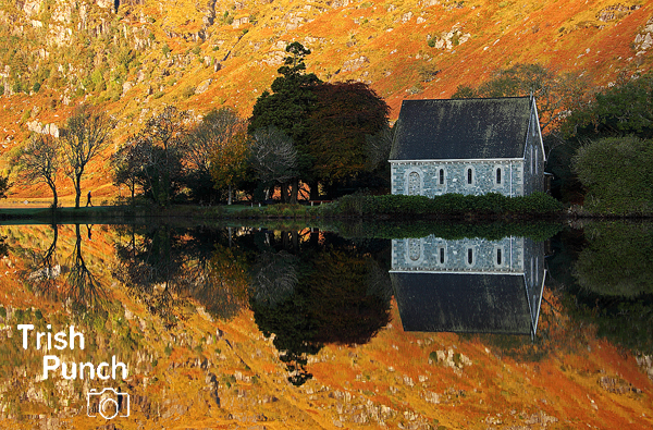 Gougane Barra lake and chapel in West Cork in Ireland.