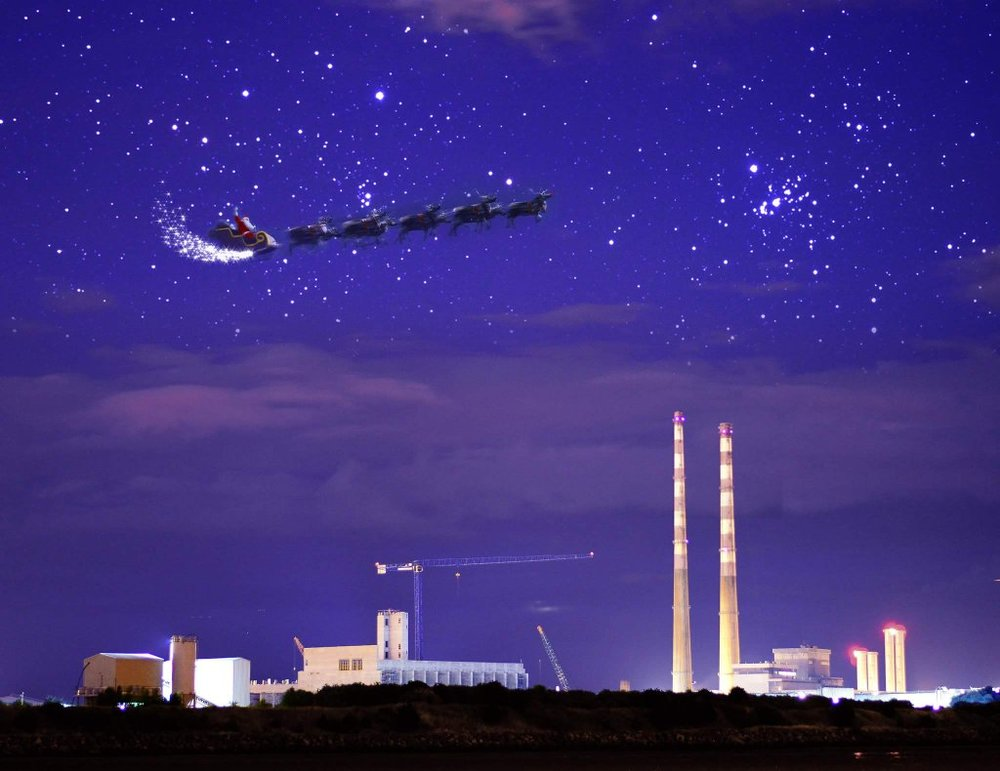 Santa Passing the Poolbeg Stacks