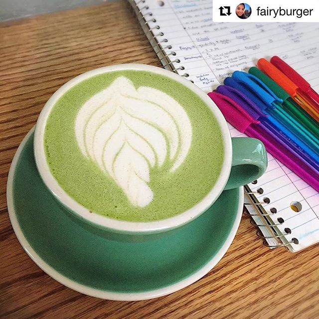 Making cloudy days colorful. ❤️🧡💛💚💙💜 We (ever so slightly) sweeten our matcha from Kagoshima prefecture (thanks Royal NY 🤗) and serve it with almond milk to give you that perfect, colorful latte you're craving on afternoons like this. BYO colored pens 😉 👇 📸: @fairyburger ・・・ Welcome to my current life. #matchalatte #matchalove #matchalatteart #matcha #coffeeshop #coffeeshopvibes #coffeeshops #oqcoffee #njeats #studyspot #pgy2 #notes #notestagram #takingnotes  #osteopathic #medicine #latteart #osteopathicmedicine #womeninmedicine #DO #doctor #doctorsthatDO #physician #residencylife #residency #familymedicine #latte #bgbcommunity #sweatpink #medlife