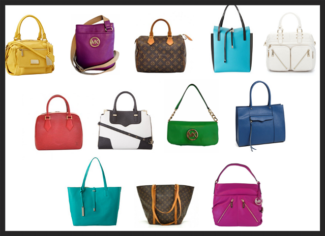 Designer handbags: Vince Camuto, Michael Kors, Louis Vuitton, & Rebecca Minkoff,