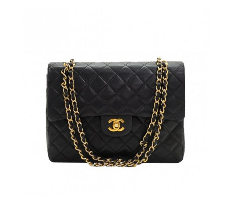 Chanel: 2.55 Tall Double Flap Black Quilted Shoulder Bag, Black