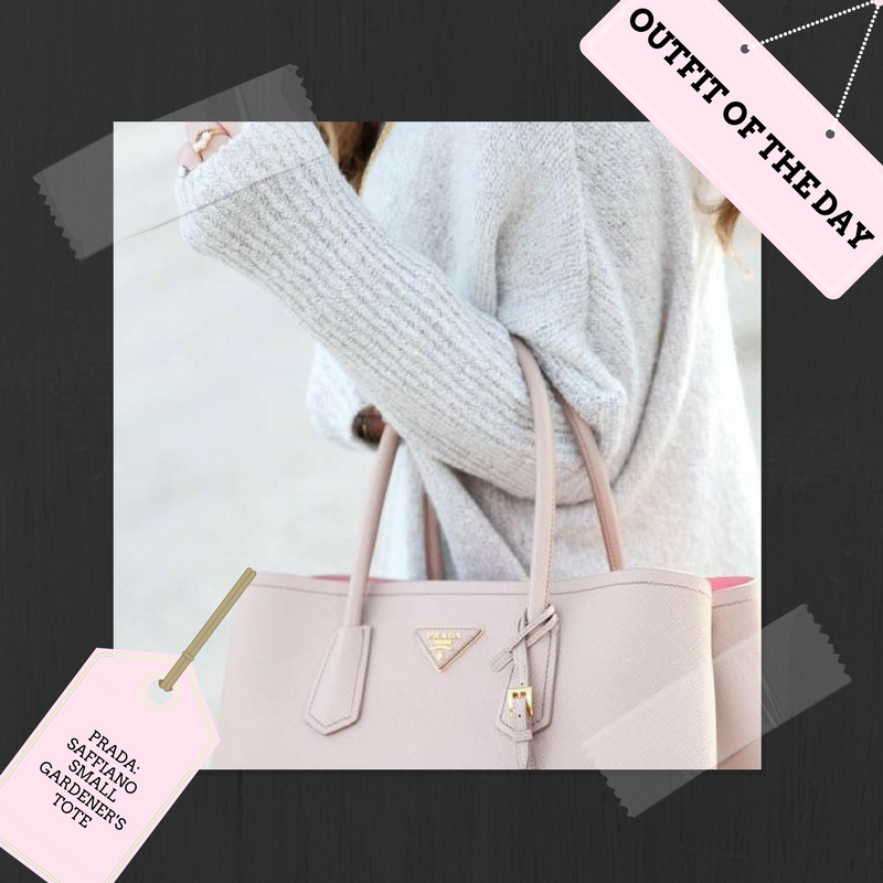 ArmGem  Outfit of the Day features a  cozy sweater  for a those cooler summer nights, and a blush  Prada  tote for a subtle touch of color.  Perfect for a summer night by the ocean or a later night out for dinner.