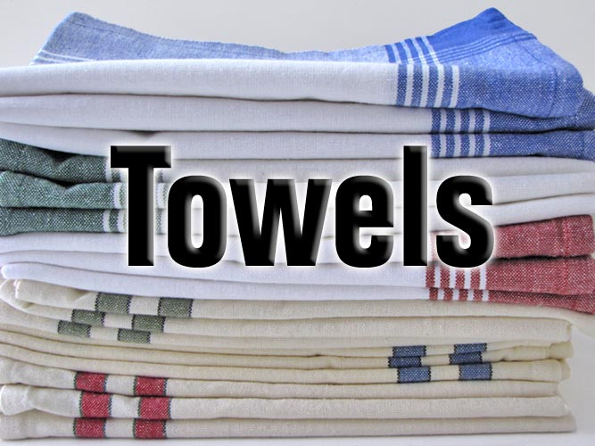 Many styles of kitchen towels and toweling to choose from.