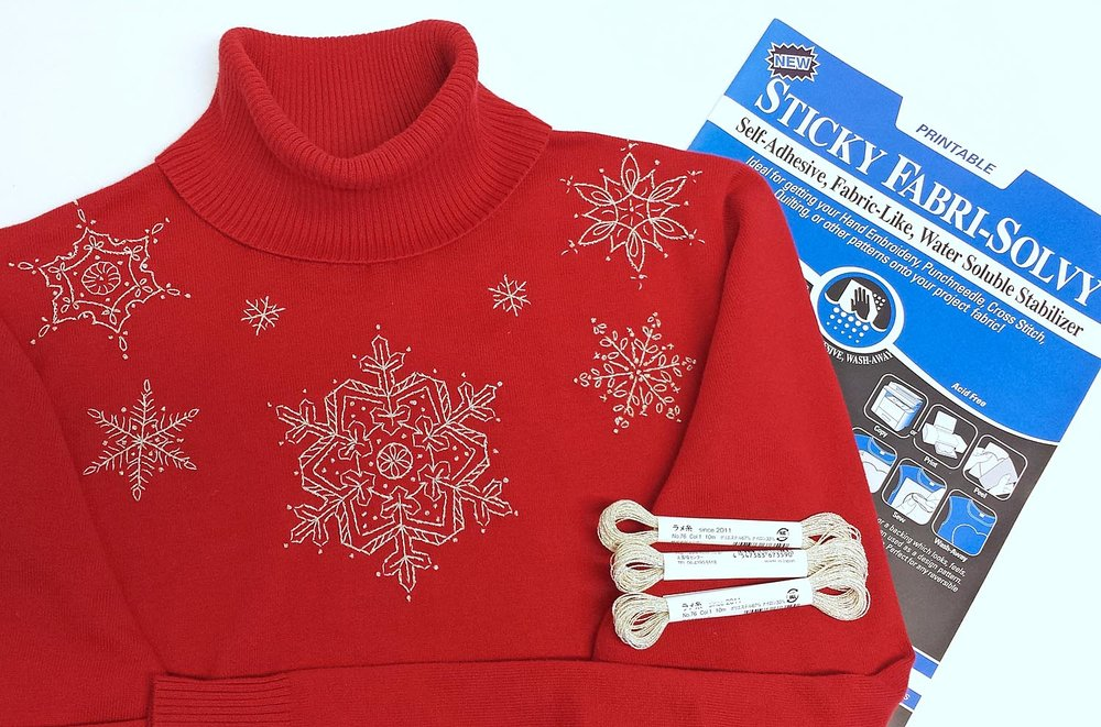 Snowflakes embroidered onto clothing a sweater.