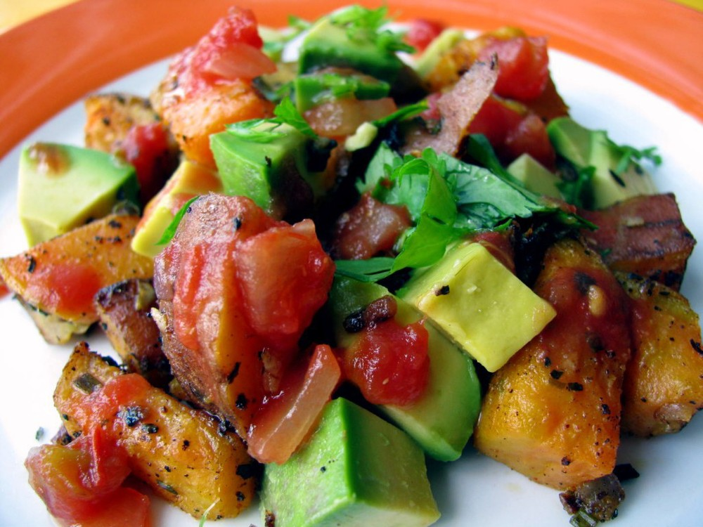 breakfast sweet potatoes and avocado