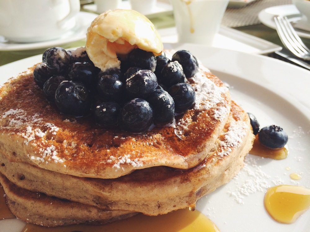 vegan multigrain blueberry pancakes