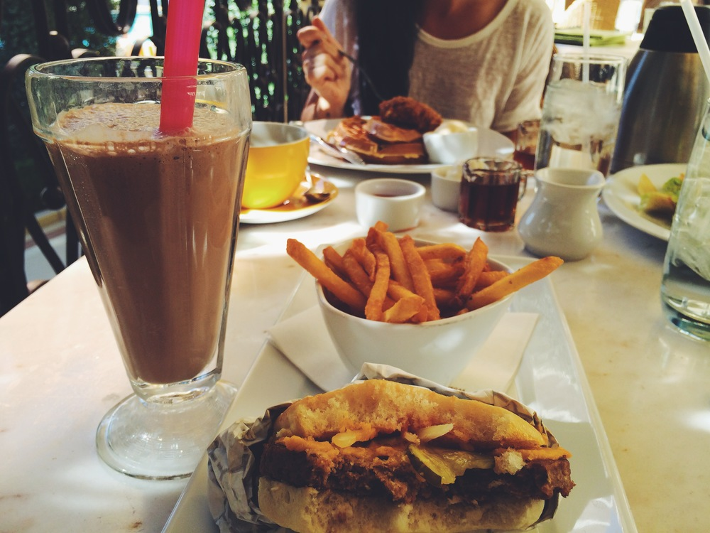 "wynn ""burger"" with cheese, french fries & chocolate shake"