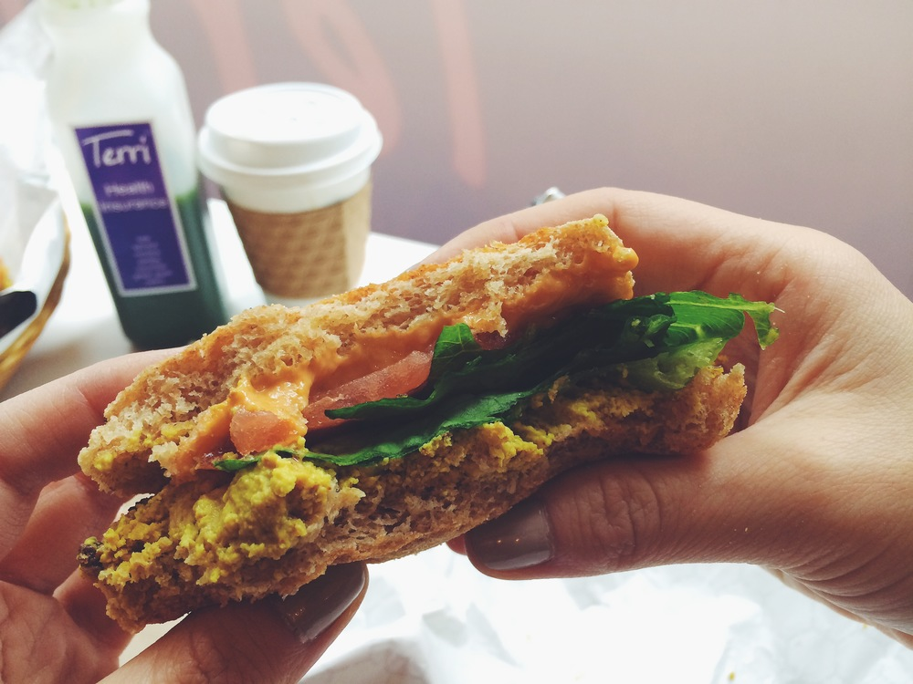 "veggie, tofu ""egg"" & cheese breakfast sandwich"