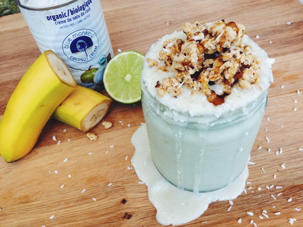 vegan coconut lime cream smoothie | RECIPE on hotforfoodblog.com