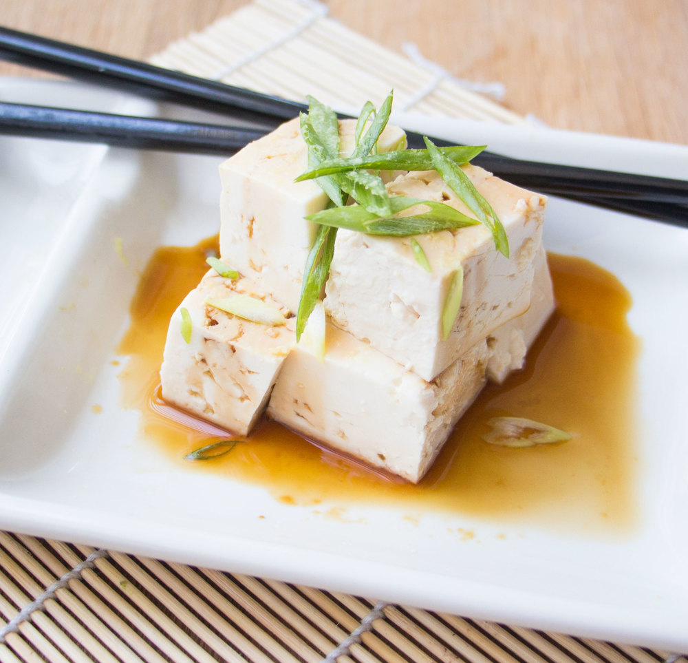 cold tofu with tamari, ginger & green onions | RECIPE on hotforfoodblog.com