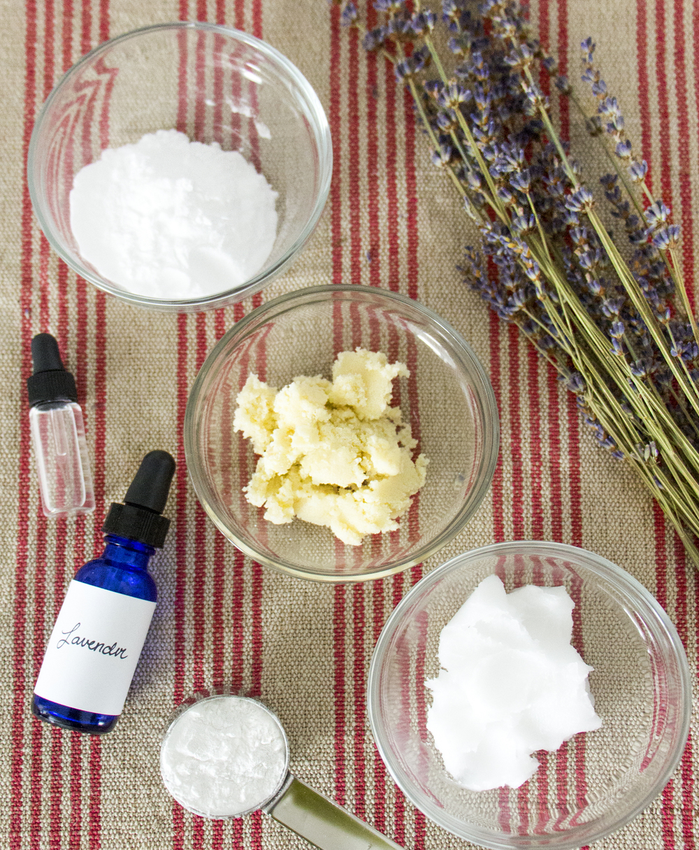 ingredients to make all-natural lavender deodorant | RECIPE on hotforfoodblog.com