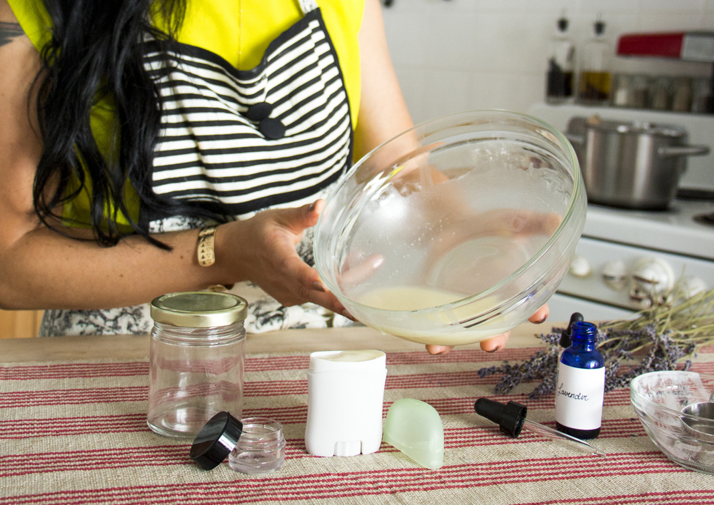 step 4: pour the all-natural deodorant mixture into small jars or old deodorant containers | RECIPE on hotforfoodblog.com