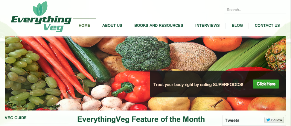 EverythingVeg.com feature of the month with hot for food blog