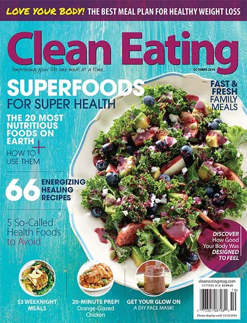 clean eating magazine October 2014 featuring hot for food blog's superfood face mask | hotforfoodblog.com